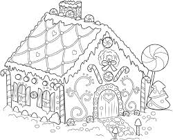 It is a gingerbread house, decorated with cream and candies. Gingerbread House Coloring Pages Candy Coloring Pages Christmas Coloring Pages Witch Coloring Pages