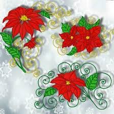 Poinsettia Designs Details About Christmas Poinsettia 10 Machine Embroidery Designs Cd Or Usb