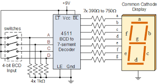 7 segment display and driving a 7 segment display driving a 7 segment display using a 4511