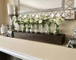 Farmhouse Mantle Decor, Rustic Mantle Decor, Planter Box with Milk Jars and  Flowers,