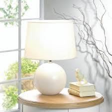 white small round globe orb ceramic bedside table lamp night light desk shade
