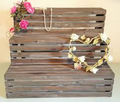 rustic wooden folding display step wood stall unit shabby chic shelf stand