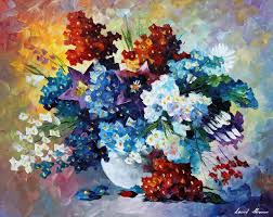 oil on canvas palette knife original paintings art famous artist biography official page gallery large artwork fine blue flowers