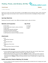 Poetry Prose And Drama Oh My Lesson Plan Education Com