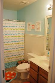 ... Cheerful Designs Ideas For Childrens Bathrooms : Agreeable Design Ideas  Using White Blue Stripes Shower Curtains ...