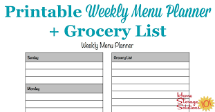 weekly menue planner printable weekly menu planner template plus grocery list