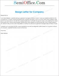 Resignation From The Company Resignation Letter To A Company