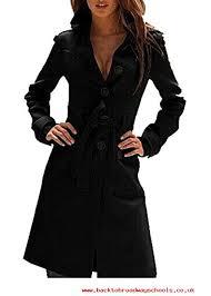 tengfu womens winter single ted slim fit wool long trench coat with belt black