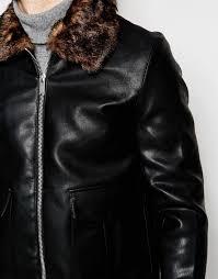 river island jackets river island harrington jacket with faux fur collar in black