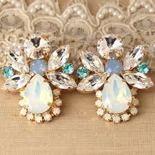 white opal blue powder statement earrings swarovski earrings w