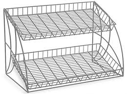 counter racks with two tiered shelving