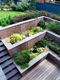 Backyard Retaining Wall Designs Simple Multi Level Concrete Retaining Walls Wooden Deck Contemporary