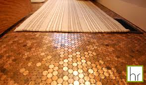 Diy Bathroom Floors Of Our New Bathroom Is The Penny Floor Made Up Of Real Pennies Not