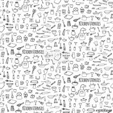 Seamless background hand drawn doodle Kitchen utensils set Vector