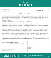 example of bill of sale bill of sale form free bill of sale template us lawdepot