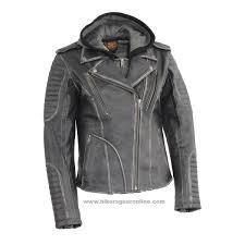 milwaukee leather las rub off m c jacket with full hoo jacket liner