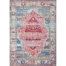 nuloom vintage medallion elmer cherry pink 9 ft x 12 ft area rug