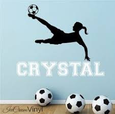 Image Art Girl Soccer Wall Decal With Name For Grils Sports By Icecreamvinyl Soccer Room Decor Soccer Pinterest 84 Best Soccer Decor Ideas For Girls Images Football Bedroom