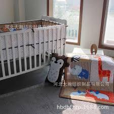 3pcs baby bedding set baby cot crib bedding set cartoon animal world owl baby crib