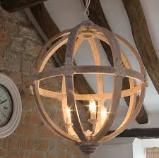 large round wooden orb chandelier by cowshed interiors pertaining to wood light fixture plans 0