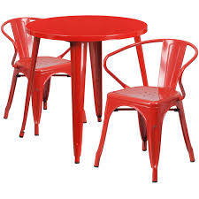 30 round red metal indoor outdoor table set with 2 arm chairs