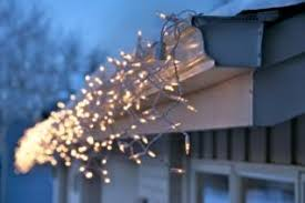 outdoor xmas lighting. Outdoor Christmas Lights Installed Along Eaves Xmas Lighting