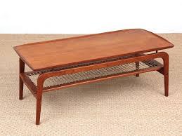 mid century modern coffee table in in teak and cane