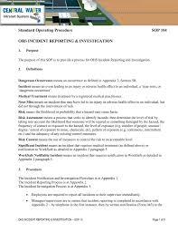 Standard Operating Procedure Sop 104 Ohs Incident Reporting