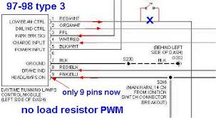 how to kill drl starting in 97 suzuki switched to pulse width modulated pwm lights ending the silly fender resistor and 2 pins so cut the wire at pin 1 of my drl