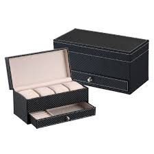 watch box large 4 slots carbon fiber leather display glass top with jewelry box case organizer