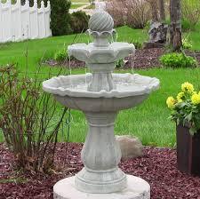 Sunnydaze TwoTier Solar Fountain U2013 White Earth 35u201dSolar Garden Fountain