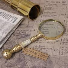 garo antique vintage magnifying glass mother of pearl brass handle map nautical