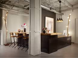 modern office counter table. Office Workspace: Contemporary Lobby Design With Wooden Reception Counter Table And Bar Modern E