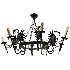 large forged wrought iron eight light chandelier or ceiling lamp with dragons for