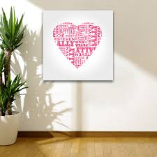 lofty ideas heart wall art decoration name shape personalised canvas print with pictures nz stickers uk