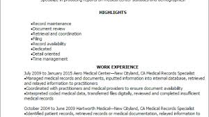 1 Medical Records Specialist Resume Templates Try Them Now