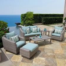 Cannes 6 Piece Wicker Patio Conversation Furniture Set Blue Tar