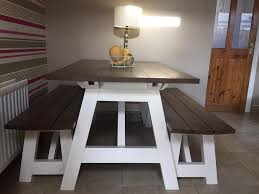 Indoor Picnic Style Dining Table Bench Style Dining Table Solid Wood Trestle Style Farmhouse