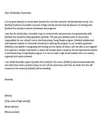 Scholarship Recommendation Letter Sample As Template Scholarship