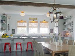 vintage style kitchen lighting with white window blind and