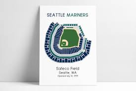 Seattle Mariners Safeco Park Mlb Stadium Map Ballpark Map Baseball Stadium Map Gift For Him Stadium Seating Chart Man Cave