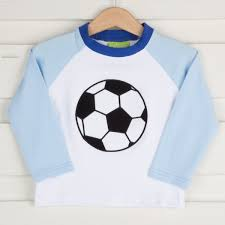 Applique Soccer Long Sleeve Shirt White And Blue Knit