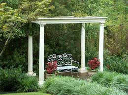 garden pillars. Captivating Garden Exterior Design With Good Trees For Privacy : Charming Decoration In White Pillars