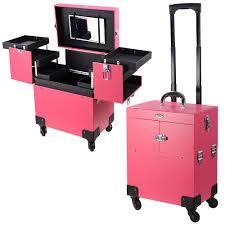 pink 4 rolling wheel 14x9x17 pvc artist makeup cosmetic train case key lockable portable box