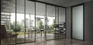 office sliding door. Unique Sliding Furniture Full Exterior Glass Sliding Door For Open Home Office Design With  High Ceiling Bookshelf And In