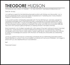 Communications Specialist Cover Letter Marketing Specialist Cover Letter Sample Cover Letter Templates