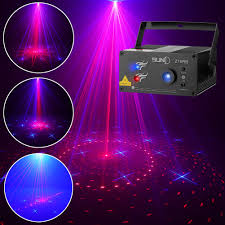 Suny Laser Lighting 16 Combination Patterns Red Blue Dj Laser Light Blue Led Music Laser Projector Remote Control Sound Activated Stage Lighting Dance