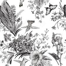 Vector Seamless Vintage Floral Pattern Exotic Flowers And Birds