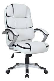 white luxury office chair. Luxury Computer Office Desk Chair Pu Leather Swivel Adjustable K8363 - White With Black E