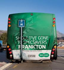 bus back crash specsavers outdoor advert